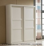 Lemari Pakaian Pintu Sliding Minimalis Putih
