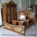 Set Tempat Tidur Jati Ukir Cat Marmer BRS-028