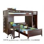 Tempat tidur tingkat anak kayu serbaguna