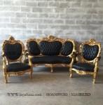 Set Kursi Sofa Tamu Ukir Rococo Gold Black