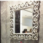 Cermin Dinding Ukir Cat Siver