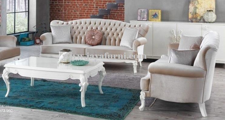 Sofa Set Ruang Tamu Elegant Putih Jayafurni Mebel Jepara