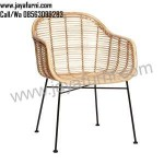 Kursi Cafe Armchair Warna Natural Rotan
