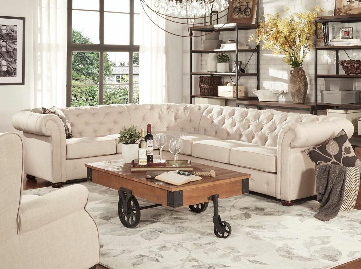Sofa Chesterfield Sudut Meja Industrial