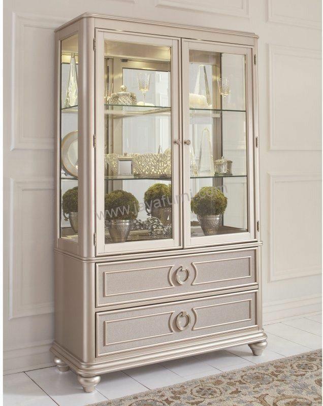 Lemari Pajangan Modern Duco White Gold